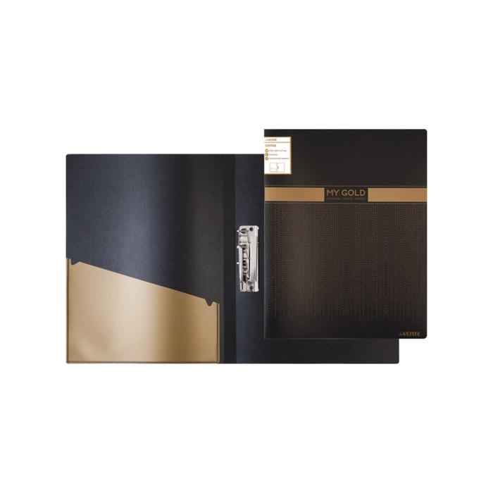 Папка с зажимом А4, deVENTE, 700 мкм, непрозрачная, чёрная, с золотистым рисунком
