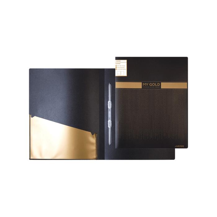 Папка А4 с пружинным механизмом, скоросшиватель, 160 мкм, deVENTE My Gold, чёрная, с золотистым рисунком