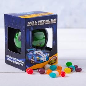 Подарочный набор «Будь первым»: машинка с инерцией в шаре, конфеты 20 г