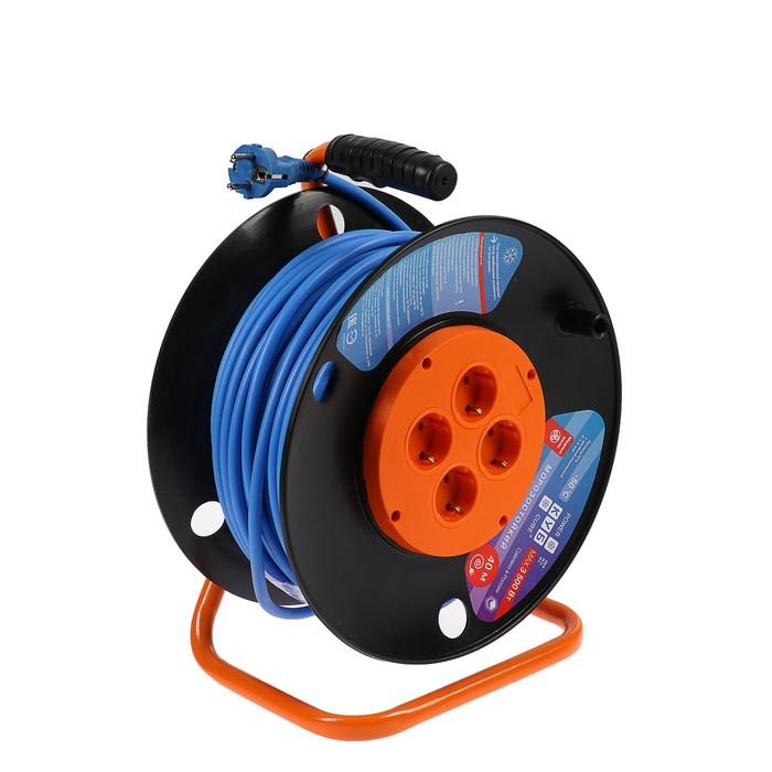Удлинитель на катушке PowerCube, 4 розетки, 40 м, 16 А, 3500 Вт, с з/к, морозостойкий провод