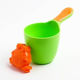 Ковш детский с лейкой-насадкой «Лягушонок», 0,65 л, цвет МИКС - фото 4635477