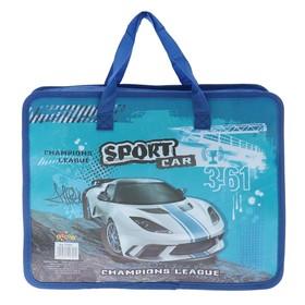 Папка с ручками, А4, на молнии, рисунок KIDIS, серия sport car