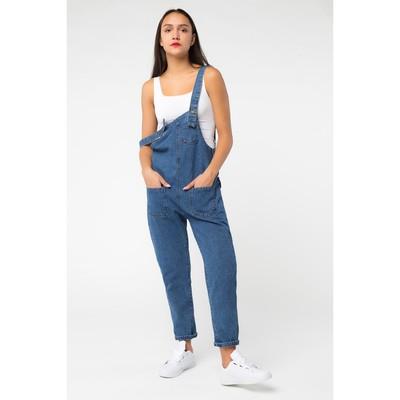 Комбинезон джинсовый, цвет синий, размер 46