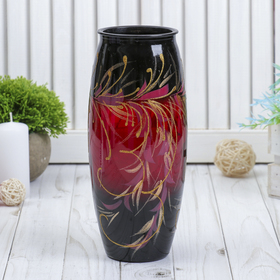 Ваза Рубин с росписью на крашеном стекле, d-7; 10х23 см