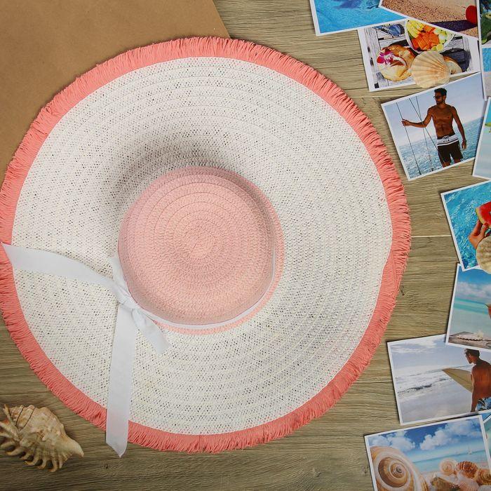 """Шляпа пляжная """"Настроение"""", цвет бело-розовый, обхват головы 58 см, ширина полей 14 см"""