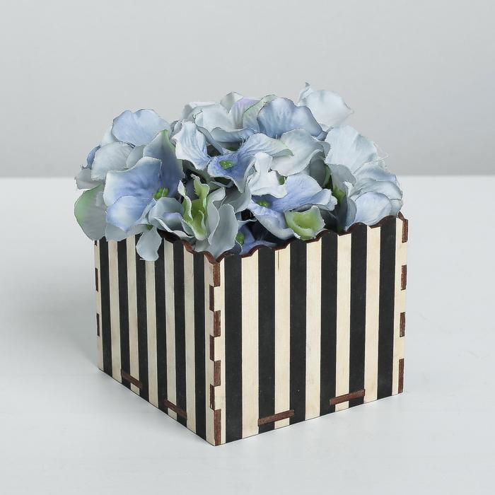 Кашпо флористическое «Полосы», чёрный, 10 × 10 × 8.4 см