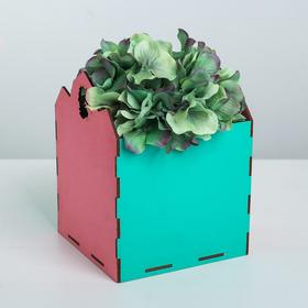 Кашпо флористическое, розово‒бирюзовый, 15 × 15 × 18.6 см
