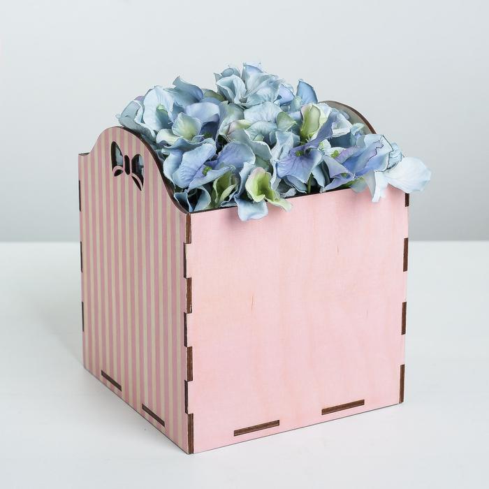 Кашпо флористическое «Полоски», розовый, 15 × 15 × 16.8 см