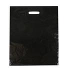 Пакет хозяйственный, с вырубной усиленной ручкой, чёрный, 40 х 50 см, 45 мкм