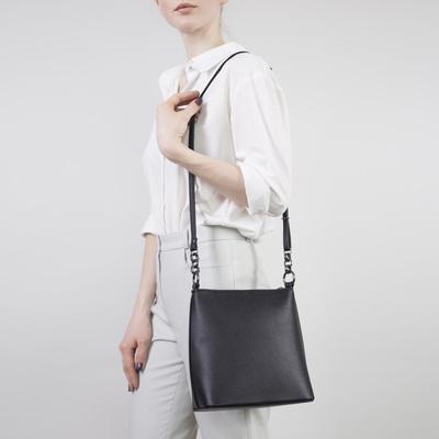 741ff5242a45 Сумка женская, отдел на молнии, наружный карман, длинный ремень, цвет чёрный