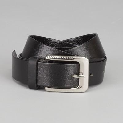 Men's belt, width 3 cm, screw, metal buckle, color black