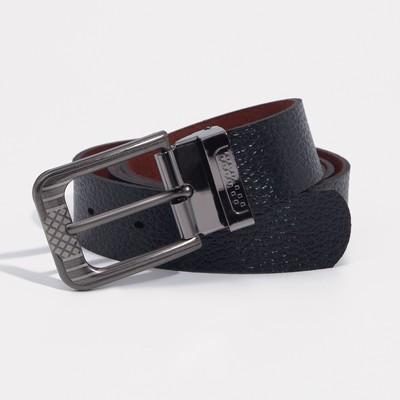 Men's belt, width 3cm, buckle is a dark metal, black
