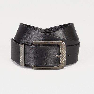 Men's belt, width 3cm, buckle is a dark metal, black