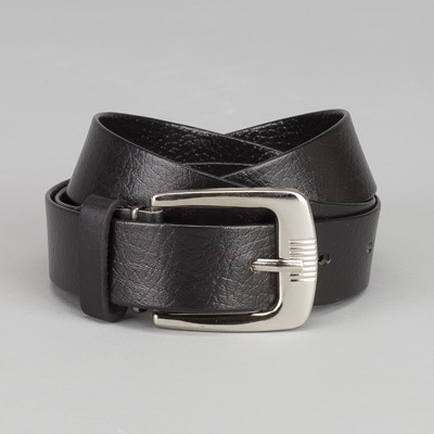 Men's belt, width 3 cm, screw, buckle is a dark metal, black