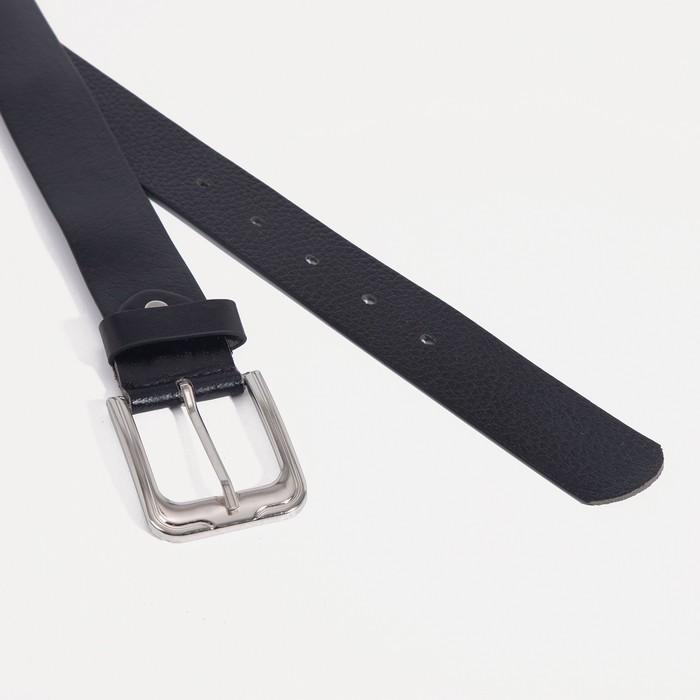 Ремень мужской, ширина - 3,5 см, винт, пряжка тёмный металл, цвет чёрный