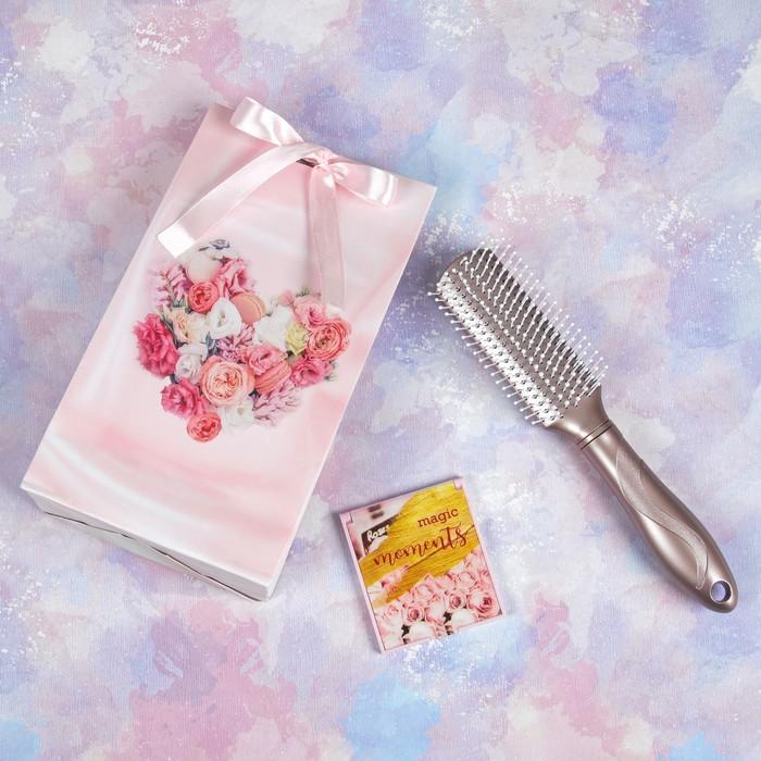 Подарочный набор «Пудра», 2 предмета: массажная расчёска, зеркало, цвет розовый