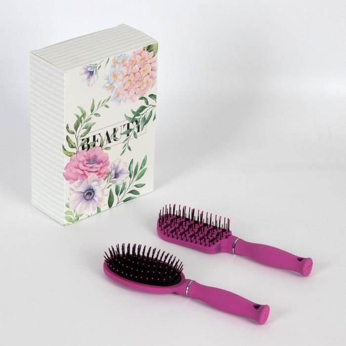 Подарочный набор «Роза», 2 предмета: вентилируемая расчёска, овальная расчёска, цвет розовый