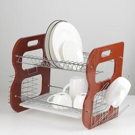 Сушилка для посуды 2-х ярусная «Стойка», В-образная, 40×23,5×34 см
