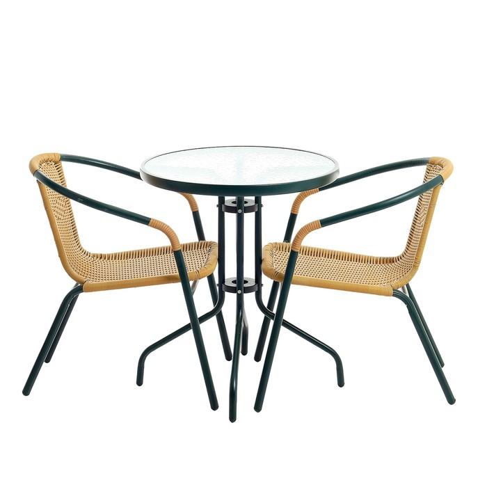 Набор мебели садовой, 1 стол (60*60*72 см) 2 кресла (53*55*71 см) бежевый