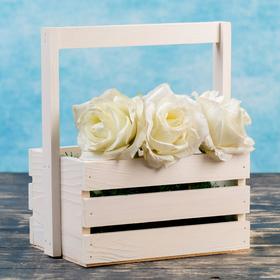 """Кашпо деревянное 20×15×11(25) см """"Флория"""", с ручкой, белый Дарим Красиво"""