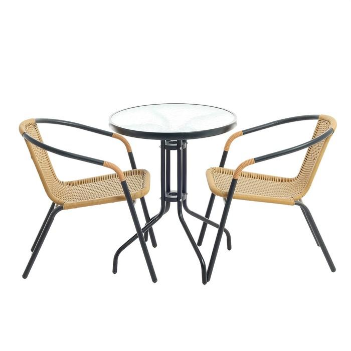 Набор мебели садовой, 1 стол (60*60*72 см) 2 кресла (53*55*71 см) черный