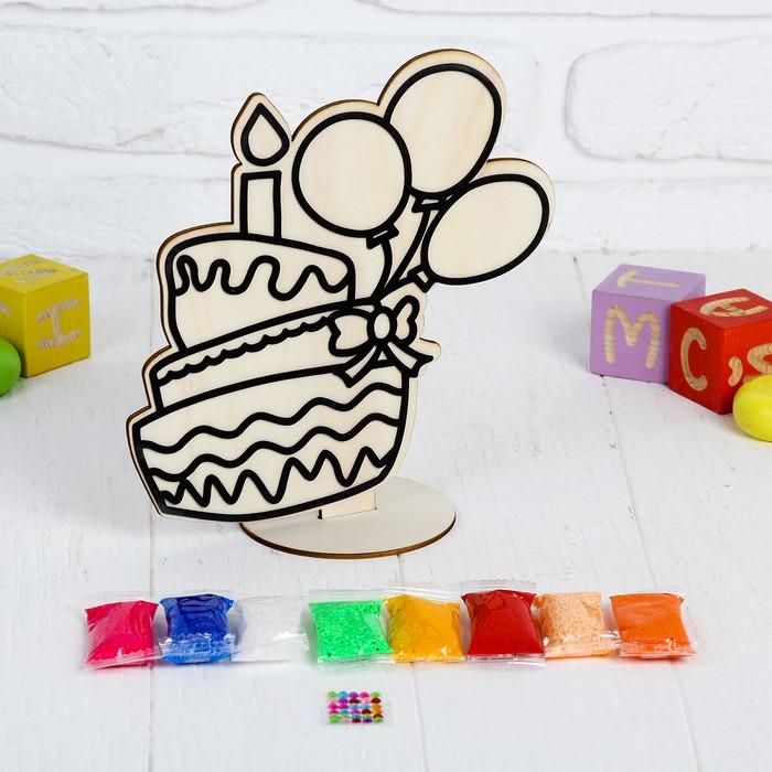 """Аппликация шариковым пластилином """"Торт"""" 8 цветов по 4 гр, подставка, стразы"""