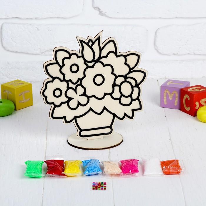 """Аппликация шариковым пластилином """"Цветы в горшке"""" 8 цветов по 4 гр, подставка, стразы"""