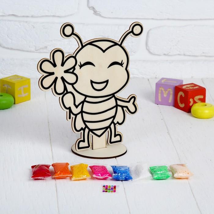 """Аппликация шариковым пластилином """"Пчелка"""" 8 цветов по 4 гр, подставка, стразы"""