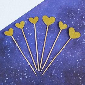 Топпер «Сердце», набор 6 шт., цвет золотой
