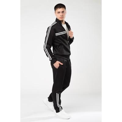 Костюм мужской спорт (толстовка, брюки), цвет чёрный, размер 56