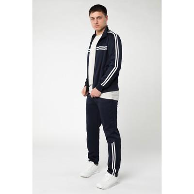 Костюм мужской спорт (толстовка, брюки), цвет тёмно-синий, размер 54