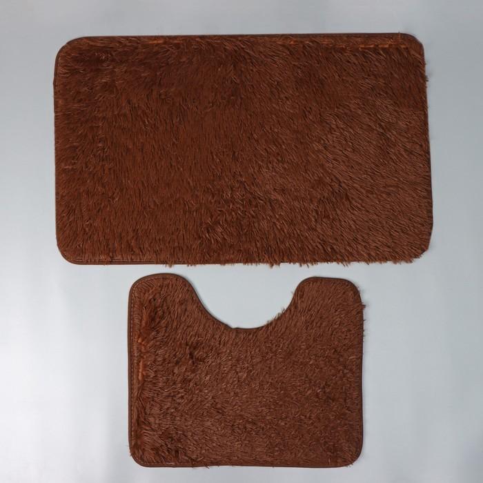 Набор ковриков для ванны и туалета Доляна «Пушистик», 2 шт: 38×49, 49×79 см, цвет коричневый - фото 7930517