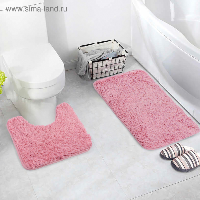 """Set of floor mats for the bath and toilet 40×60, 40×38 cm """"Fluffy"""", 2 piece, pink"""