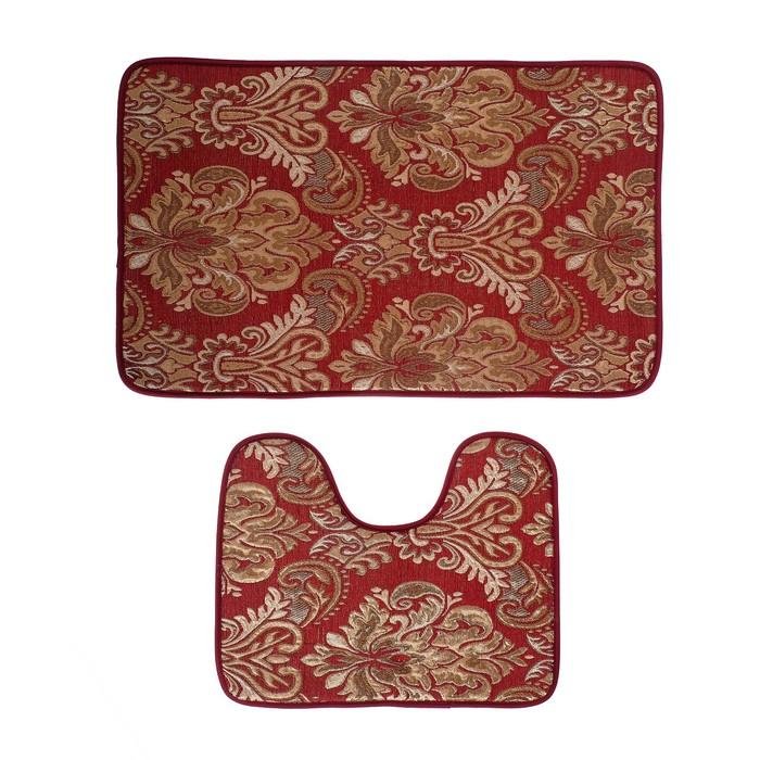 Набор ковриков для ванны и туалета «Восток», 2 шт: 40×50, 50×80 см, цвет бордовый
