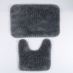 Set of floor mats for the bath and toilet 40×60, 40×38 cm Fluffy, 2 PCs, gray color