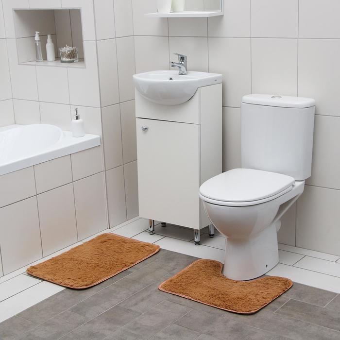 Набор ковриков для ванны и туалета Доляна «Пушистик», 2 шт: 38×40, 40×60 см, цвет светло-коричневый - фото 7930524