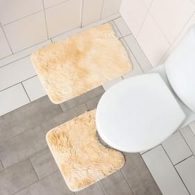 Набор ковриков для ванны и туалета «Пушистик», 2 шт: 38×40, 40×60 см, цвет бело-коричневый - фото 4652984