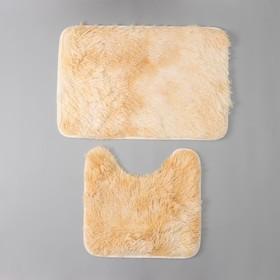 Набор ковриков для ванны и туалета «Пушистик», 2 шт: 38×40, 40×60 см, цвет бело-коричневый - фото 4652985