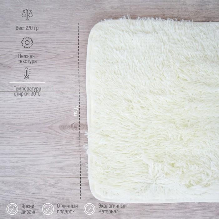 Набор ковриков для ванны и туалета Доляна «Пушистик», 2 шт: 38×40, 40×60 см, цвет белый - фото 7930529