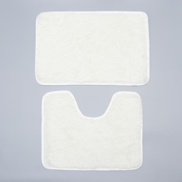 """Set of floor mats for the bath and toilet 40×60, 40×38 cm """"Fluffy"""", 2 piece, white"""