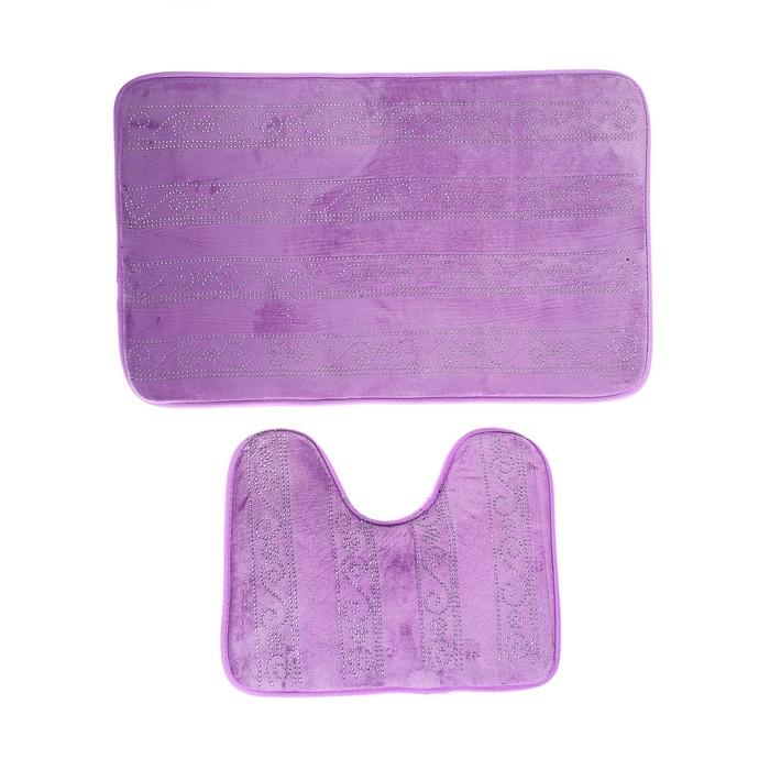 Набор ковриков для ванны и туалета «Сияющий», 2 шт: 37×49, 49×80 см, цвет фиолетовый