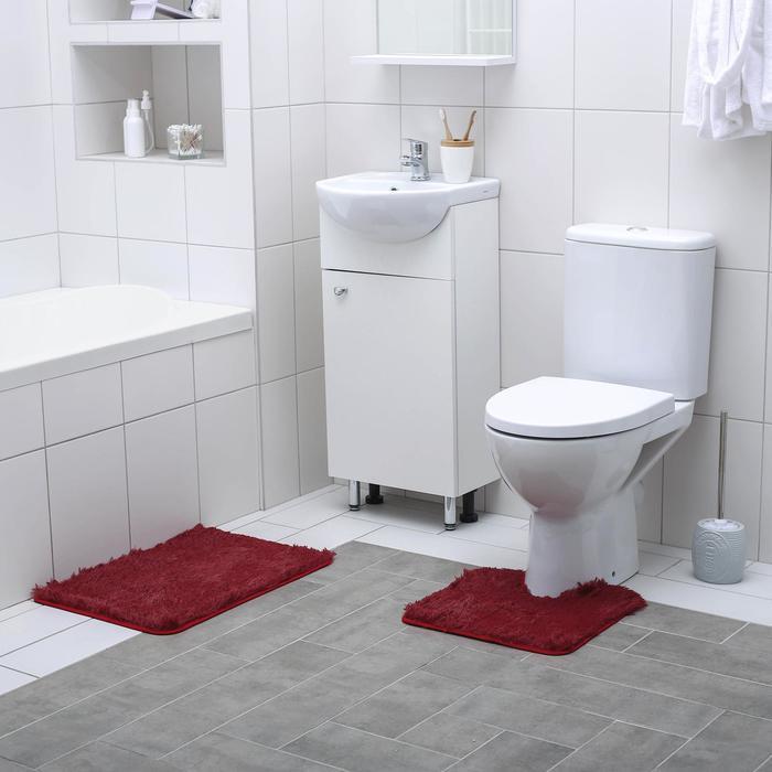Набор ковриков для ванны и туалета Доляна «Пушистик», 2 шт: 38×40, 40×60 см, цвет бордовый - фото 7930534