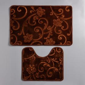 "Set of floor mats for the bath and toilet 50 x 78, 50 x 40 cm ""Athena"", 2 PCs, brown"