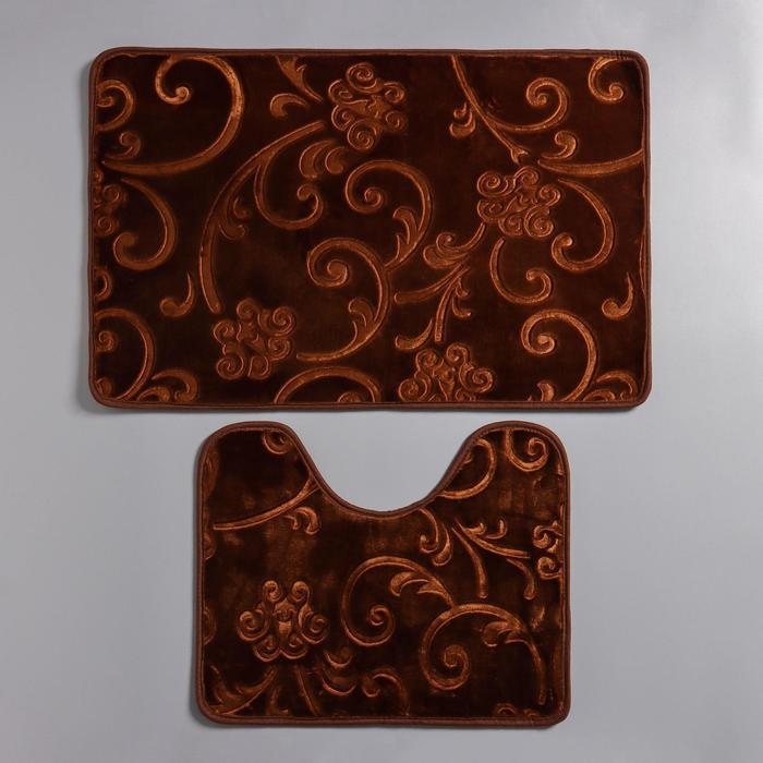 Набор ковриков для ванны и туалета «Афина», 2 шт: 40×50, 50×78 см, цвет коричневый