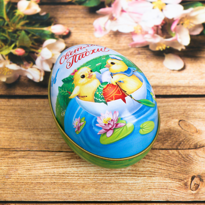 Пасхальная свеча в баночке «Светлой Пасхи! Цыплята»