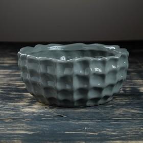 Кашпо-бонсайница керамическое серое 18*18*8 см