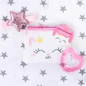 Детский набор «Для Малышки», 3 предмета: повязка на голову, прорезыватель охлаждающий, сумочка