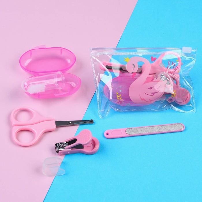 Набор маникюрный детский «Для Малышки», 4 предмета: ножнички, книпсер, пилочка, щётка