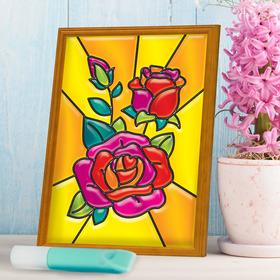 Витражная мини-картина «Розы» 10х15 см