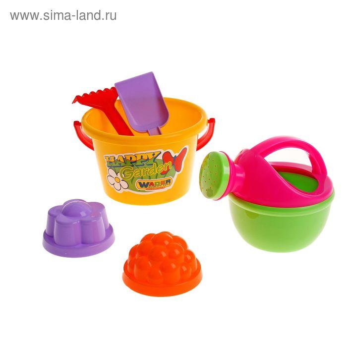Песочный набор №205 (ведро, лопатка, грабельки, 2 формочки, лейка малая) цвета МИКС